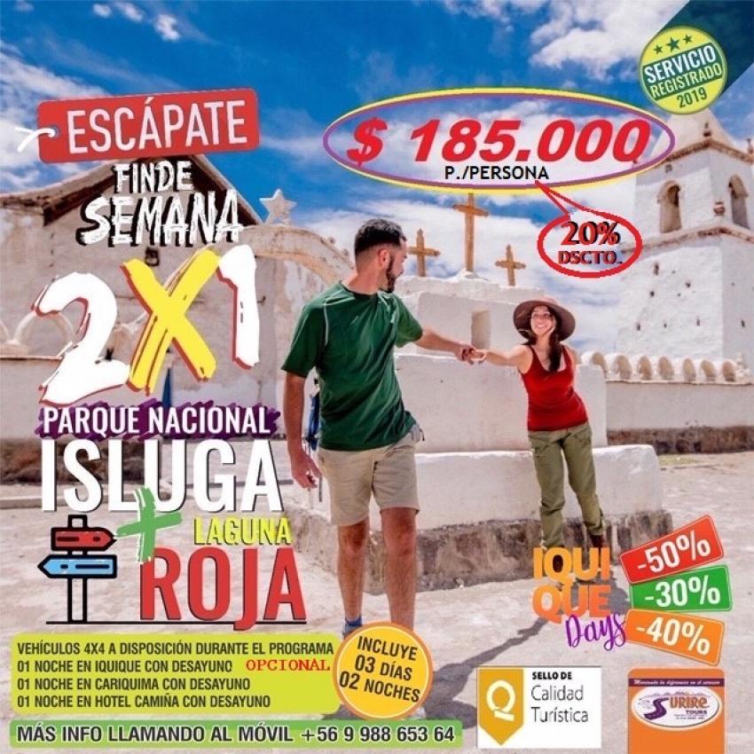 Programa Especial 2x1 Parque Nacional Isluga + Laguna Roja 03 Días 02 Noches..!!